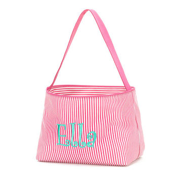 Easter Basket Hot Pink Mini Stripe Tote Bucket  -  Personalized Monogrammed