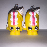 Shopkins Foodie Earrings - Creamy Bun-Bun - repurposed toys