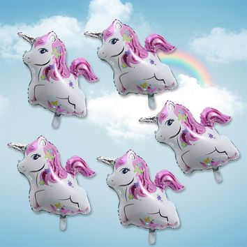 5Pcs Rainbow Unicorn Aluminum Foil Balloons Birthday Party Wedding Decoration
