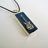 Electric Guitar blue necklace. Unisex rock jazz music cobalt royal blue musician jewelry minimal small rectangle charm pendant teenager