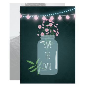 Pink and blue Cosmos floral Wedding Save the Date Card