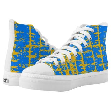 blue and yellow High-Top sneakers
