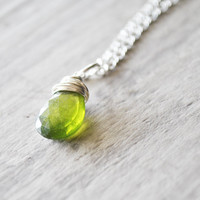 Bright Green Necklace Sterling Silver Gemstones Vessonite Garnet Wire Wrapped Lime Neon