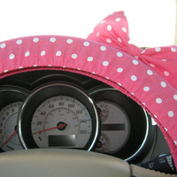 Pink Polka Dot Steering Wheel Cover with Matching Bow