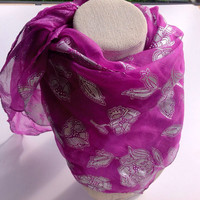 Magenta Orchid silk square shawl, Colorful Sarong, Purple Floral Scarf, Best friend gift, Gift for coworker, Birthday gift