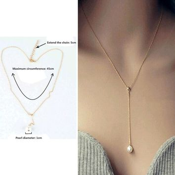simulated pearl Jewelry Sample Style Adjustable Chain Statement Necklace For Women
