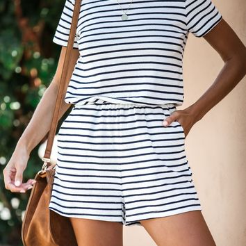 Final Destination French Terry Pocketed Striped Romper - FINAL SALE