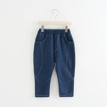 2018 New spring autumn casual sweet girls kid's babys Personality loose Denim jeans pants Children's clothing Y3001