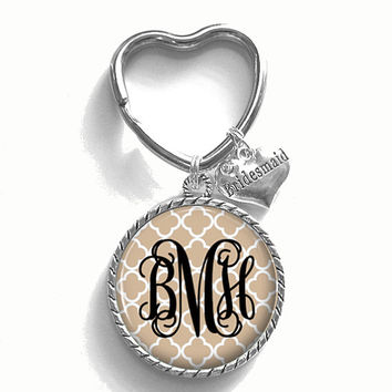 Bridesmaid Gift, Tan Monogram Key Chain, Personalized Keychain, Wedding Party Gift, Style 430