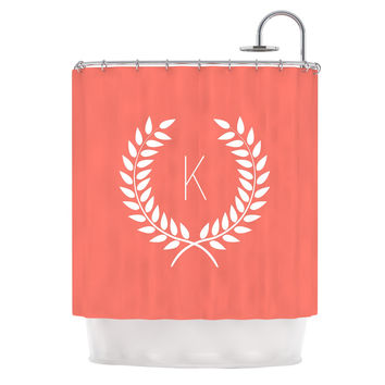 "KESS Original ""Coral Wreath Monogram"" Shower Curtain"