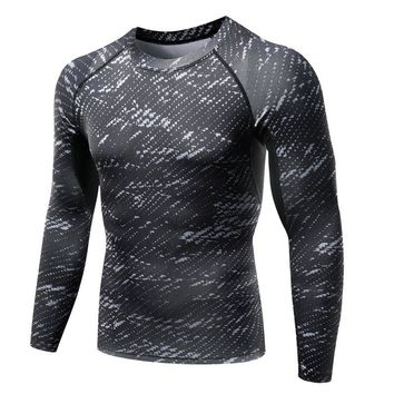 Mens Long Sleeve Body Armour Compression T-Shirts Thermal Under Top Casual Mens bodybuilding Fitness Tops Skin Shirt D1