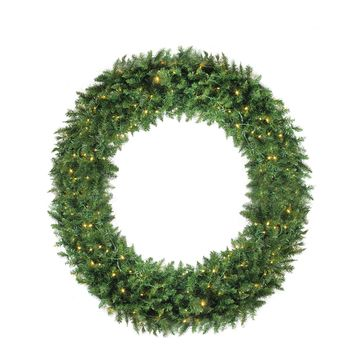 6' Pre-Lit Buffalo Fir Commercial Artificial Christmas Wreath - Warm White LED Lights