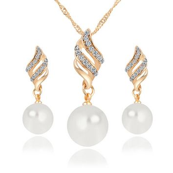 Rich Long Gold Plated Imitation Pearl Rhinestone Necklace & Earrings J