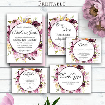 Burgundy Wedding Set, Marsala Invitation, Bordeaux Watercolor invitation Template, Marsala Burgundy Wedding Invite Suite Template,Customized