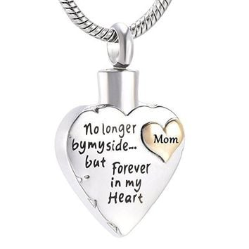 JJ001 Free Engraving Son/Mom/Dad/Grandpa No Longer By Side But Forever In My Heart Cremation Necklace For Loved Ones Ashes