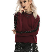 Burgundy Lace-Up Long-Sleeve Girls Top