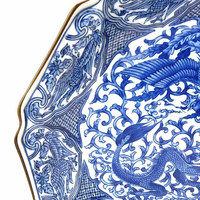 "Uncommon 1960s Takahashi 12 "" Signed Porcelain Chop Platter Display Plate Japan Blue White Phoenix Dragon San Francisco"