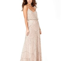 Adrianna Papell Dress, Sleeveless Spaghetti Strap Beaded Blouson Evening Gown