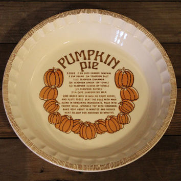 Vintage Royal China by Jeannette Pumpkin Pie Baker- Pie Dish- Pie Pan- Made in USA- Recipe- Orange- Fall- Retro Kitchen- Serving- Farmhouse