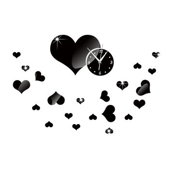 Mirror Wall Clock Love Heart DIY Creative Cartoon Decoration   black