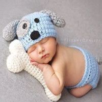 Newborn Puppy Costume Baby Crochet Outfit Photography Props Knit Baby - CC313