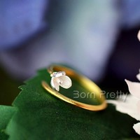 $2.79 Magnolia Flower Open Adjustable Silver Ring Double-color Allergy Simple Style Free Ring - BornPrettyStore.com