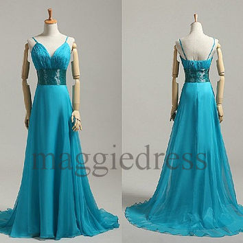 Custom Ice Blue Long Prom Dresess Bridesmaid Dresses 2014 Evening Gowns Formal Party Dresess Homecoming Dresses Party Dress Cheap Dress