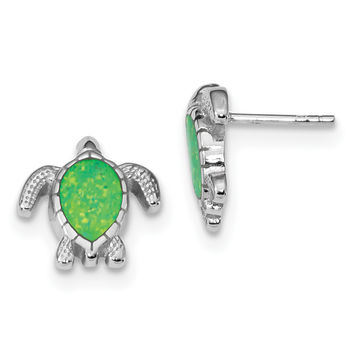 Sterling Silver Rhodium-plated Green Created Opal Turtle Post Earrings QE14036