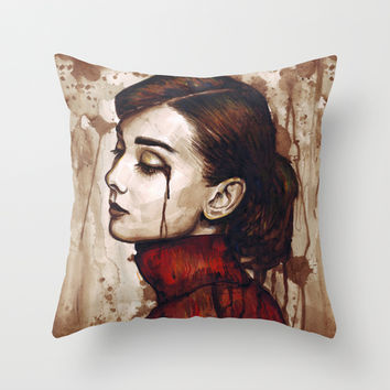 Audrey Hepburn | Quiet Sadness Throw Pillow by Olechka