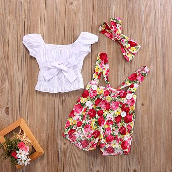 Toddler Girls shirt AND brace SHORTS +Headband 3PCS Sets Summer Floral kids girl clothes sets Outfits