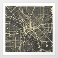 Dallas map Art Print by Map Map Maps