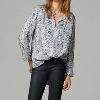 Totem Floral Print Keyhole Front Long-Sleeve Shirt