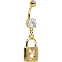 Licensed Clear Gem Gold Plated Playboy Bunny Lock Dangle Belly Ring | Body Candy Body Jewelry