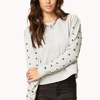 FOREVER 21 Glam Rock Spiked Sweatshirt Heather Grey Medium