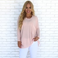 Knit's A Beautiful Day Oversize Top in Blush