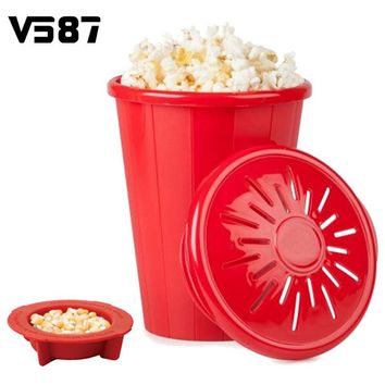 Silicone Microwave Popcorn Maker Bucket Snack Bucket Family Party Supplies Kitchen Tools Popcorn Container Bakingwares DIY