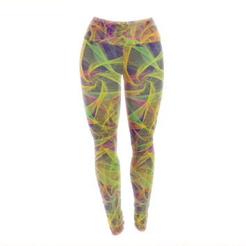 "Danny Ivan ""Blend Everywhere"" Yellow Abstract Yoga Leggings"