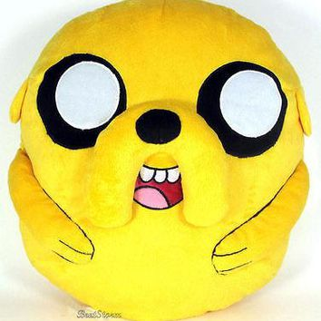 "Licensed cool RARE 14"" Adventure Time with Finn and Jake Yellow Dog Plush Cuddle Pillow NEW"