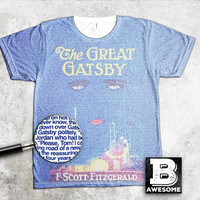 The Great Gatsby cover created with text from the novel TShirt, Literary shirt book lover t shirt classic literature tee, f scott fitzgerald
