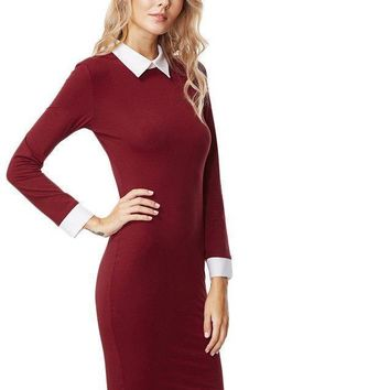 Color Block Lapel Long Sleeve Slim Dress Ladies Elegant Burgundy Contrast Collar And Cuff Sheath Dress