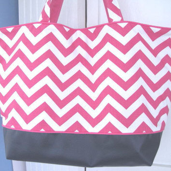 Beach Bag Extra Large Tote Pink Chevron with by JanetElizabethLLC