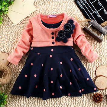 new 2016 summer 1-6 years child clothing children clothes corsage girl dress dresses baby Princess dress polka dot  mock two pcs
