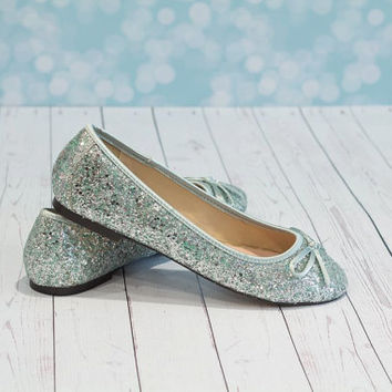 Blue Wedding Shoes - Flat Blue Shoes - Glitter Shoes - Wedding Shoes - Wedding Flats - Ballet Flats - Blue Ballet Flats - Tiffany Blue Shoes