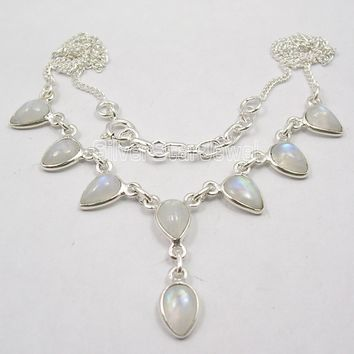 Solid Silver RAINBOW MOONSTONE Drops necklace