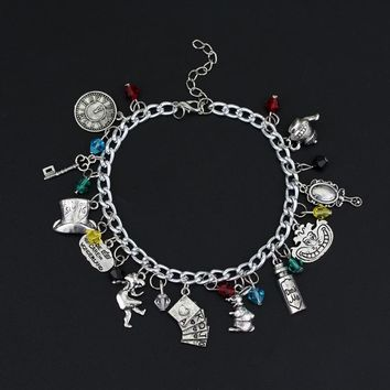 Women DIY Charm Jewelry Bracelets Alice In Wonderland Crystal Pendants Bangle a Bracelet Cosplay Wristband Pendant Accessories