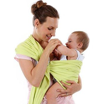 Baby Sling Carrier,Birth to 3 Yr Breastfeeding Nursing Cover Super Soft 100% Organic Cotton Baby Wrap by Liberty Slings Hands Free Ergonomics Baby Carrier (Green)