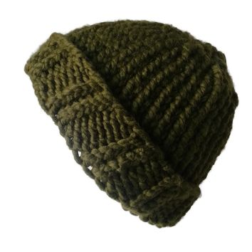 Chunky Knit Hat Moss Green