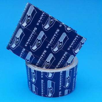 Small Blue Seattle Seahawks Men's Wallet - Billfold Wallet - Bifold Wallet - Duct Tape Wallet - Gift Ideas for Men