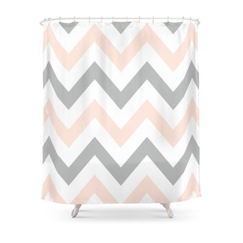 Society6 PEACH & GRAY CHEVRON Shower Curtains