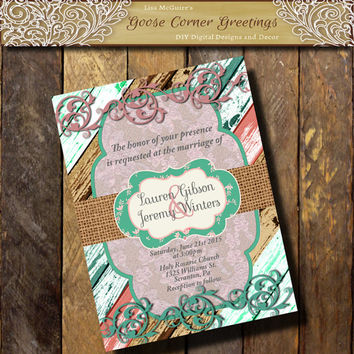 BARNWOOD WEDDING Invitation Shabby Chic Country wedding Brunch Rustic Bridal Shower Birthday invitations Surprise any color pink teal
